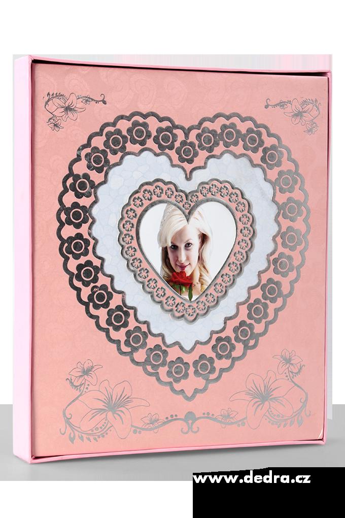 Svatební fotoalbum, na 200 fotek růžové