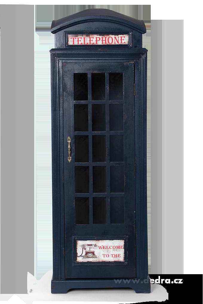 Telefonní budka, vitrína modrá