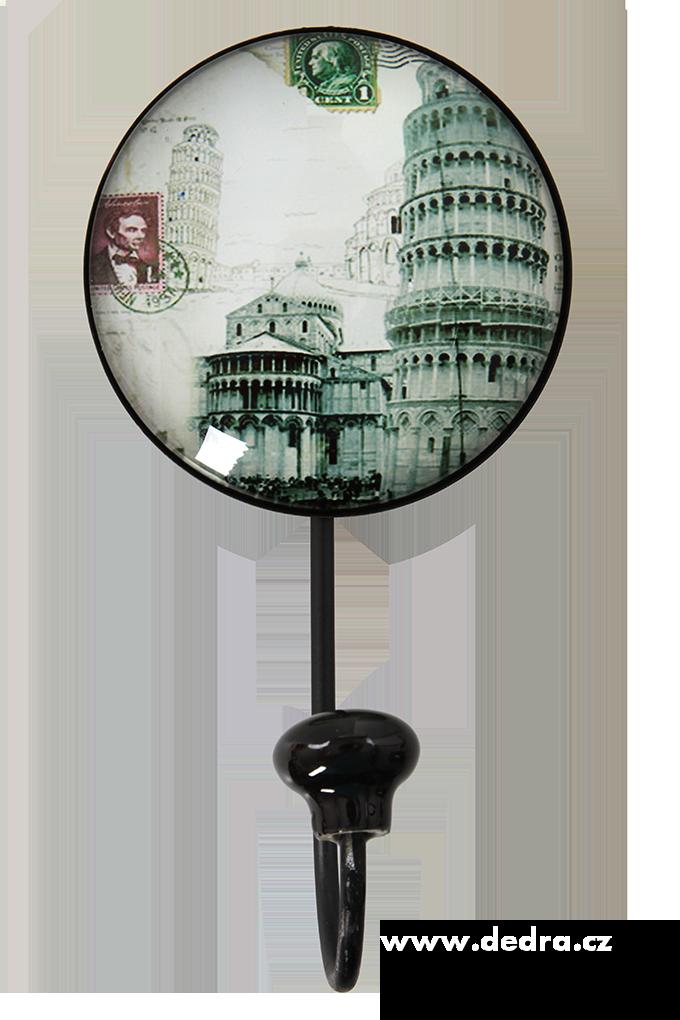 XXL věšák/háček  plastický 3D efekt 15 cm Šikmá věž