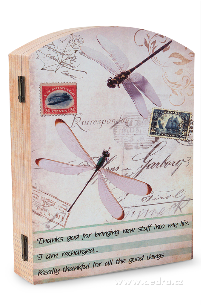Skříňka na klíče nástěnná dřevěná vážky