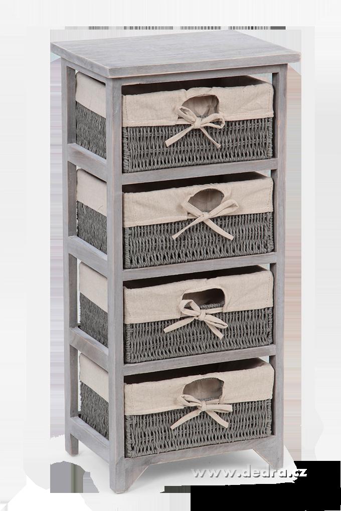 Dřevěná komoda/regál, 4 šuplata