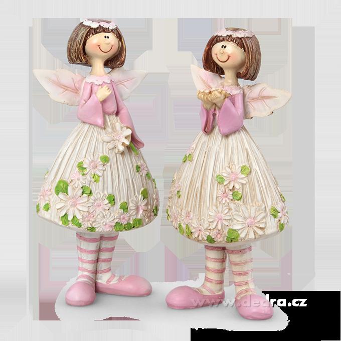 2 ks vílí panenky květinové zdobení