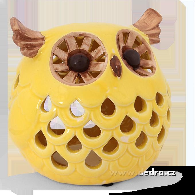 Keramický svícen ve tvaru sovy větší pastelově žlutý