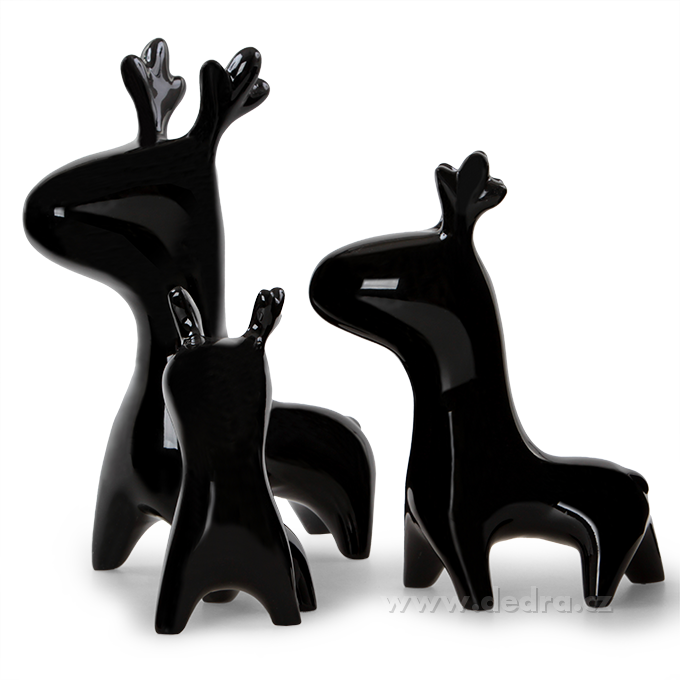 Glam set of 3 deers 3 ks dekorat.jelen black
