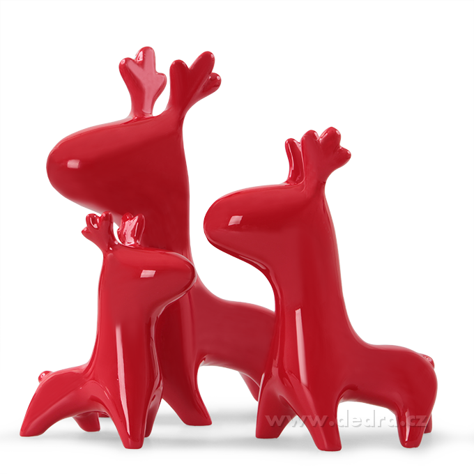 Glam set of 3 deers 3 ks dekorat.jelen red