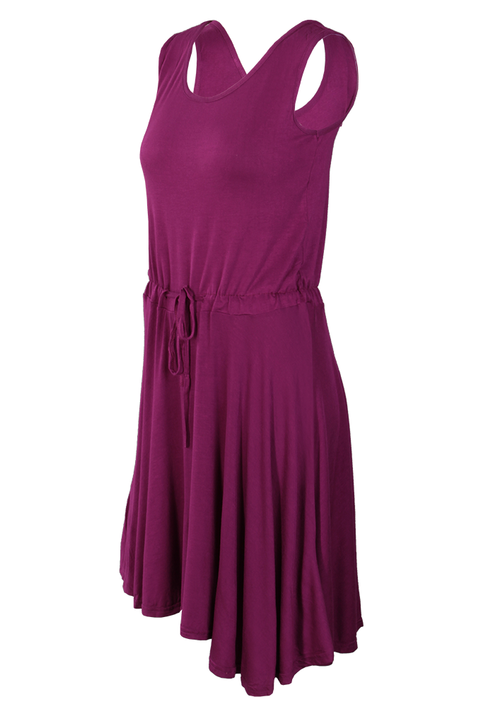 BRENDA vzdušné šaty, burgundsky fialové