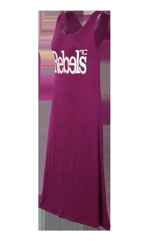 Dlouhé šaty REBELS, burgundsky fialové