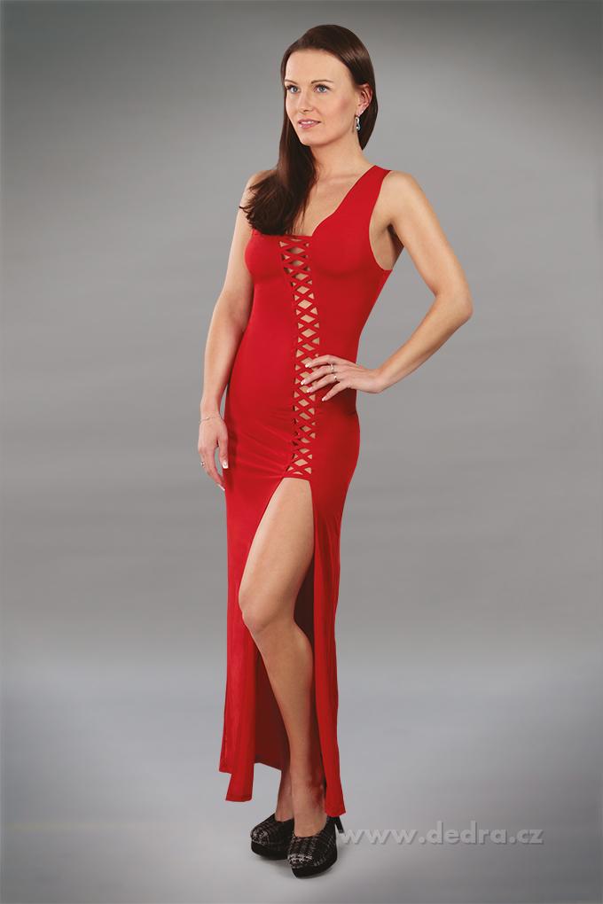 ABELINE červené šaty se šněrováním a kalhotky tanga