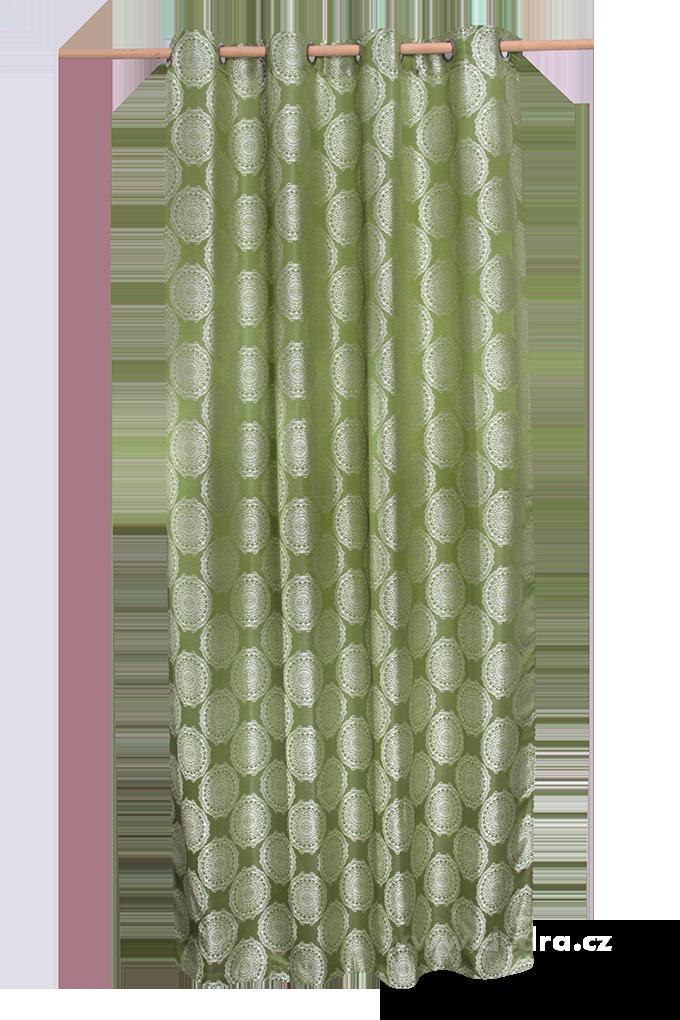 Jacquard rings žakárově tkaný závěs olivový