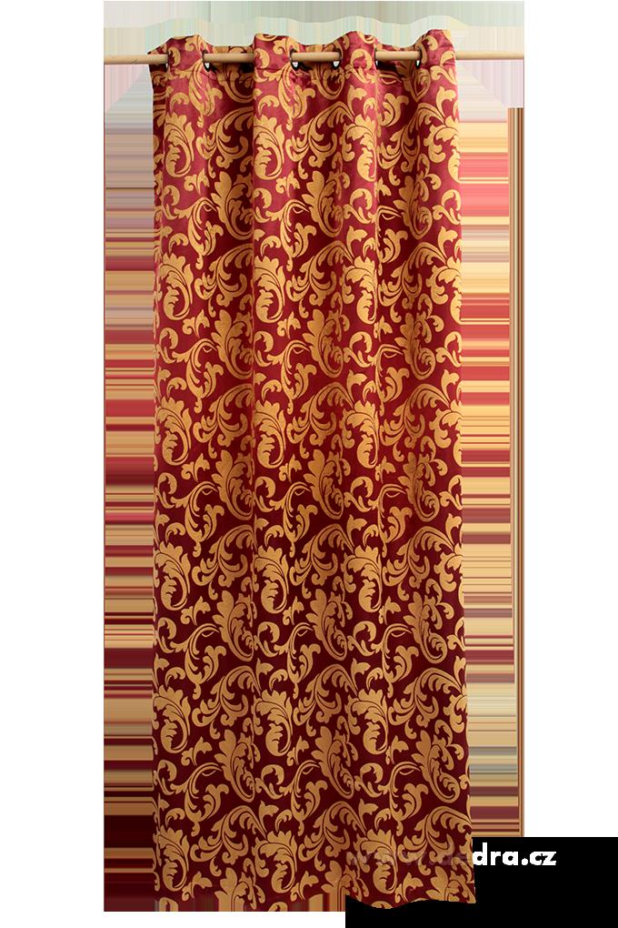 Jacquard ornament žakárově tkaný závěs bordó-zlatý