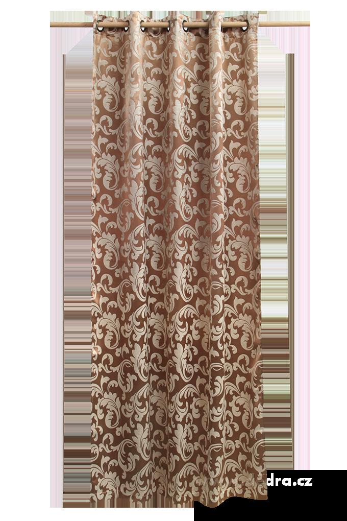 Jacquard ornament žakárově tkaný závěs bronzový