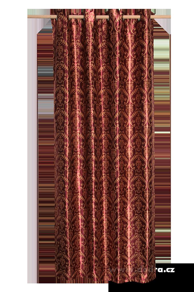 Jacquard ornament žakárově tkaný závěs bordó ornament