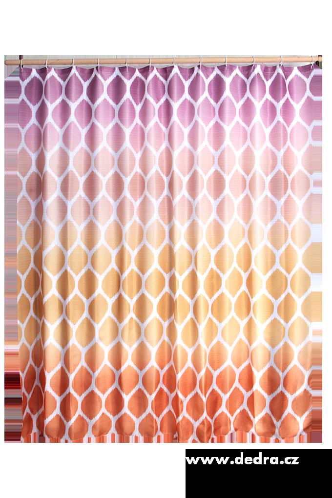 Koupelnový závěs s impregnací oranžovo fialový