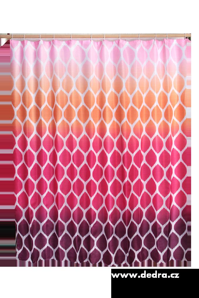 Koupelnový závěs s impregnací fialovo růžovo oranž