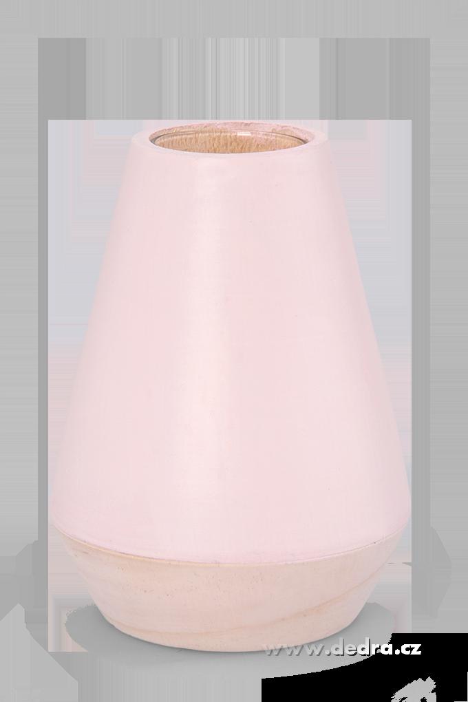 Dekorativní váza ze dřeva,uvnitř sklo světle růžová