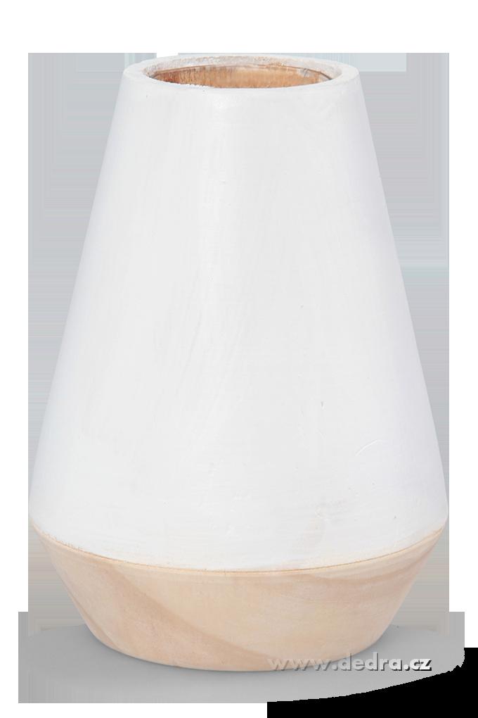 Dekorativní váza ze dřeva,uvnitř sklo bílá