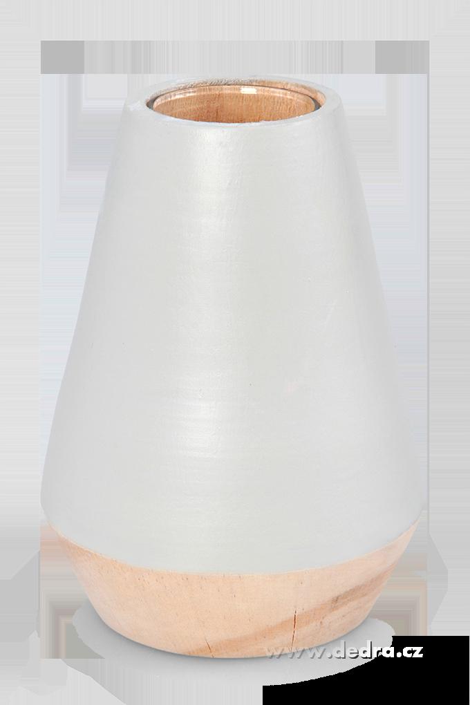 Dekorativní váza ze dřeva,uvnitř sklo šedá