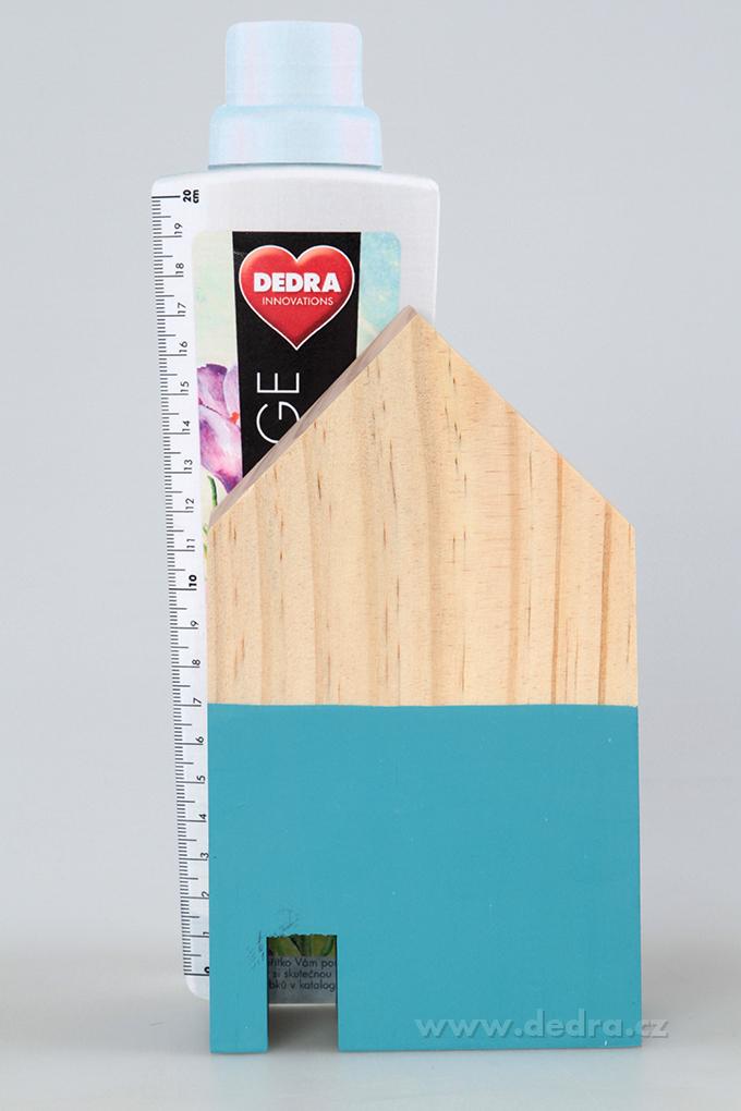 DA86841-Drevená dekorácia domček tyrkys. väčšie 10 x 5 x 18 cm