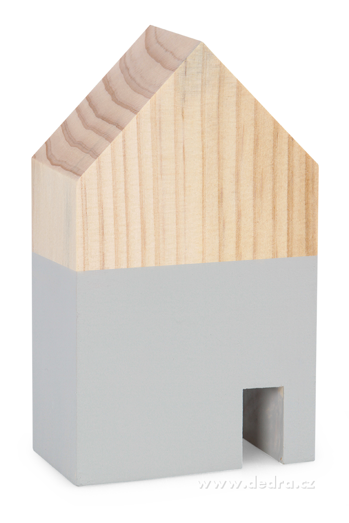 Dřevěná dekorace domek šedý větší 10 x 5 x 18 cm
