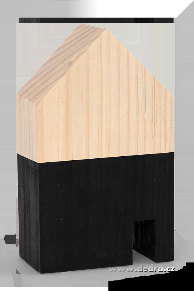 Dřevěná dekorace domek černý střední 9 x 5 x 15 cm