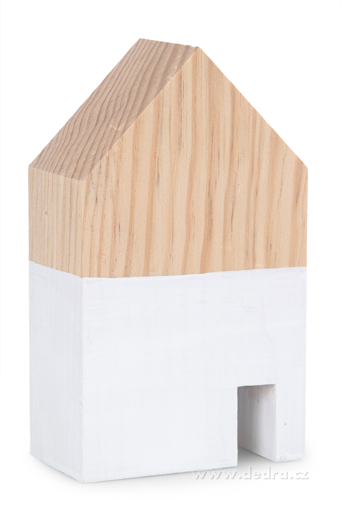 Dřevěná dekorace domek bílý střední 9 x 5 x 15 cm