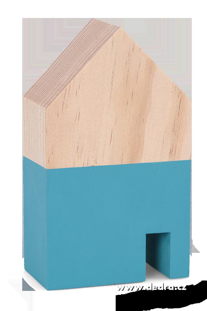 Dřevěná dekorace domek tyrkys.menší 7,5 x 5 x 12 cm