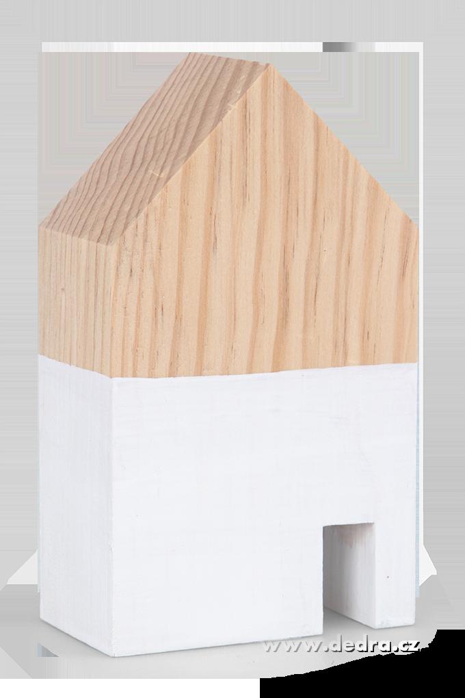 Dřevěná dekorace domek bílý menší 7,5 x 5 x 12 cm