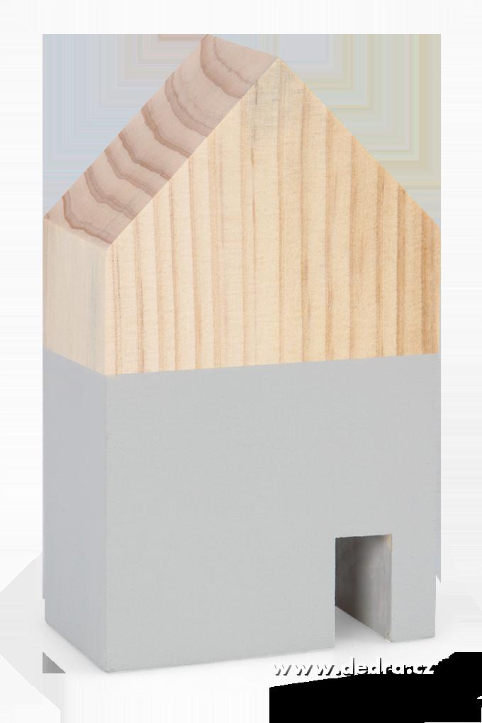 Dřevěná dekorace domek šedý menší 7,5 x 5 x 12 cm