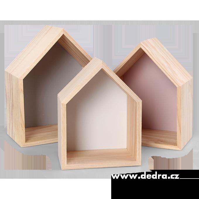 3 ks dřevěné poličky, ve tvaru domečku