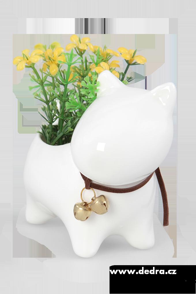 Keramická dekorace květinová přízdoba stojící pes