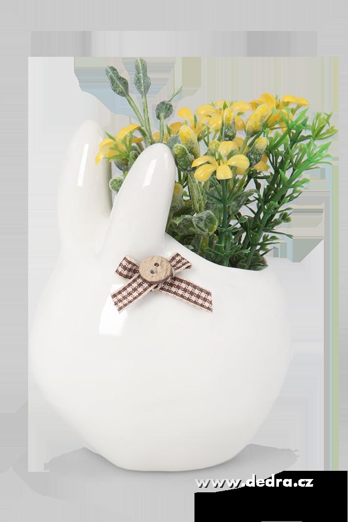 Keramická dekorace květinová přízdoba zajíc