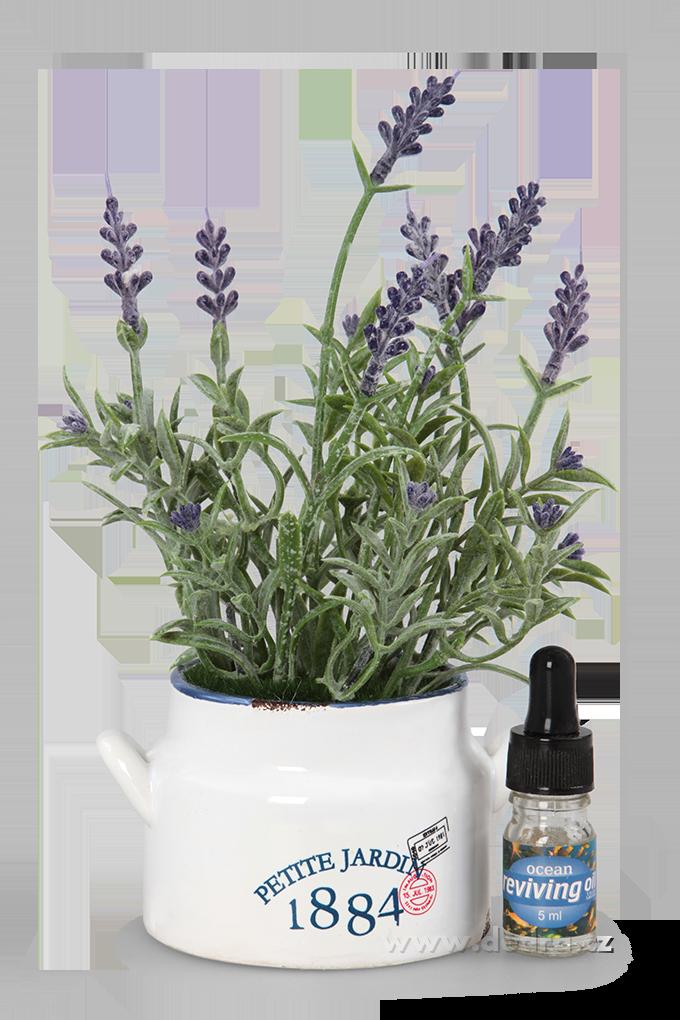 Levandulová dekorace keramický hrnek +aromatický olejíček