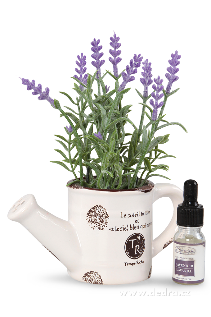 Levandulová dekorace keramická kropička +aromatický olejíček