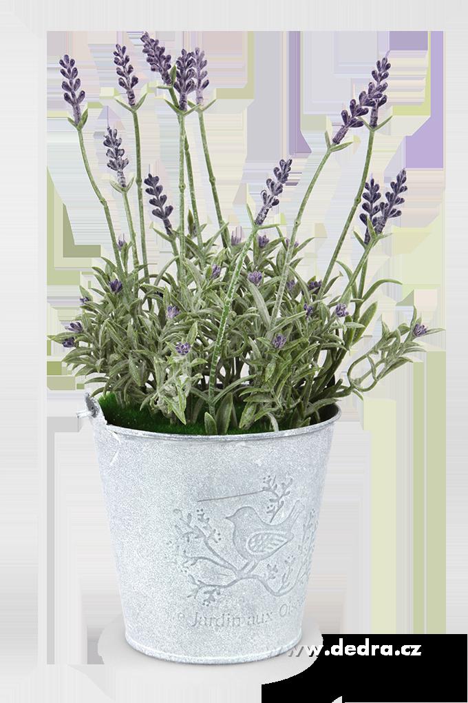 Levandulová dekorace, plechový kyblík