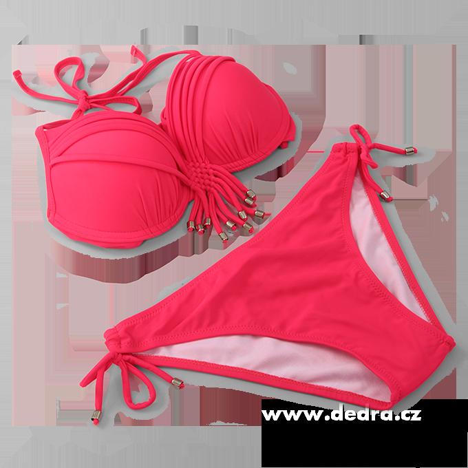 BECKY dvoudílné plavky neonově růžové vel.1