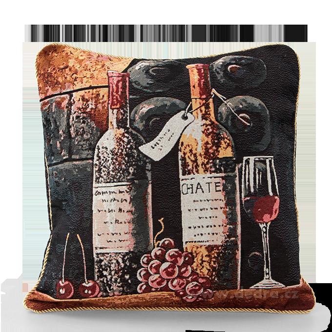 FC8743-Gobelíny poťah na vankúš bottle of wine