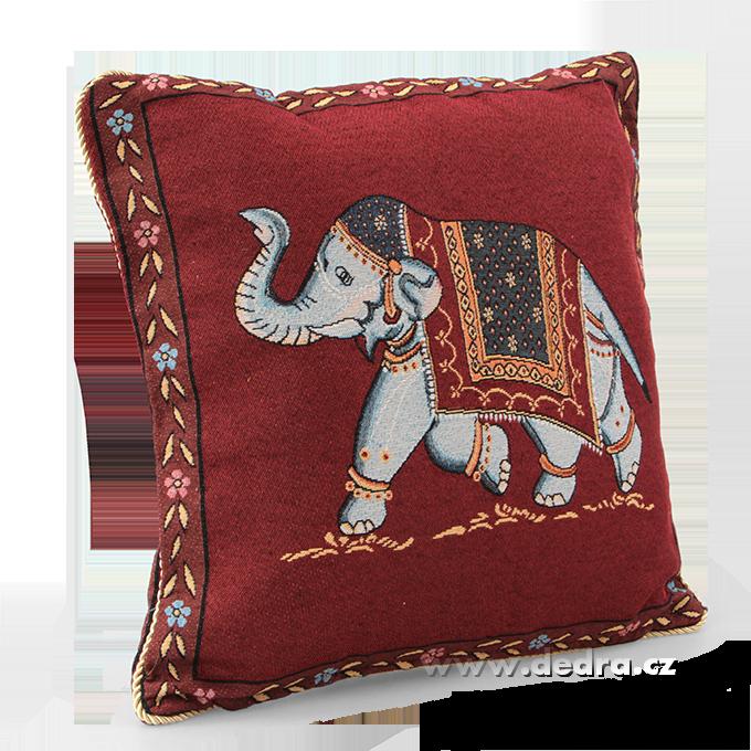 GOBELINO potah na polštář vínový se slonem