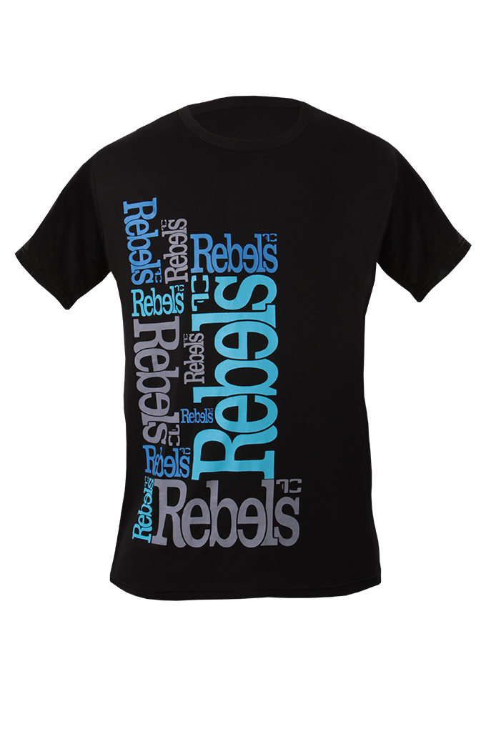 Rebels pánské triko černé modrý nápis  M