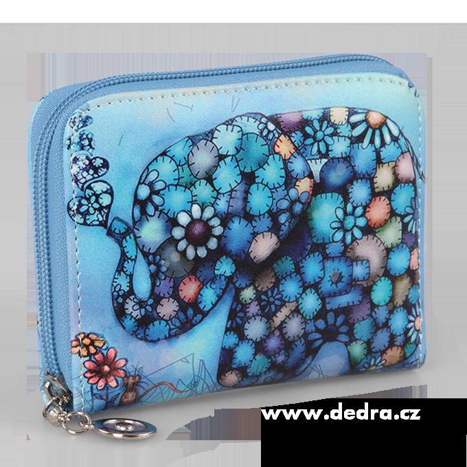 Dámská peněženka motiv slona menší modrá, z ekokůže