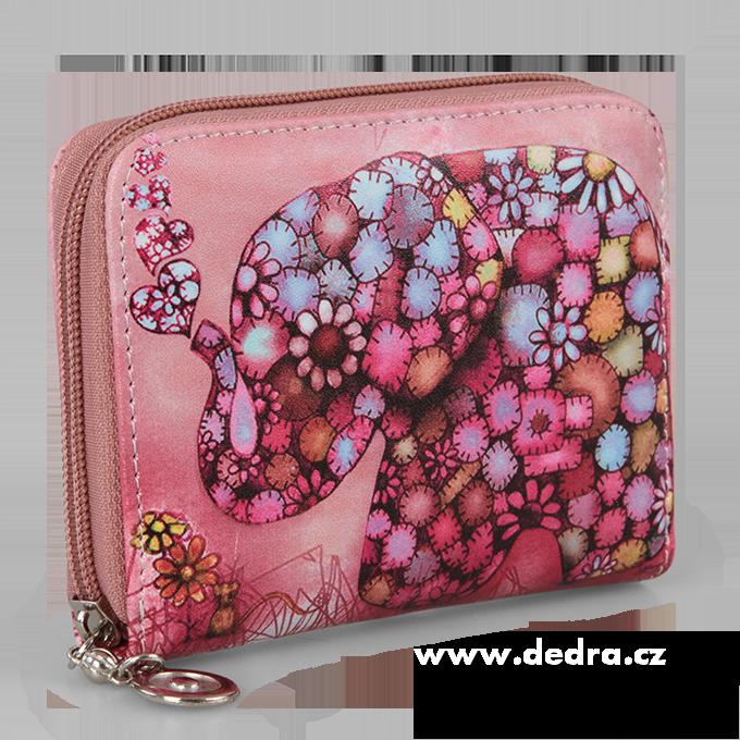 Dámská peněženka motiv slona menší růžová, z ekokůže
