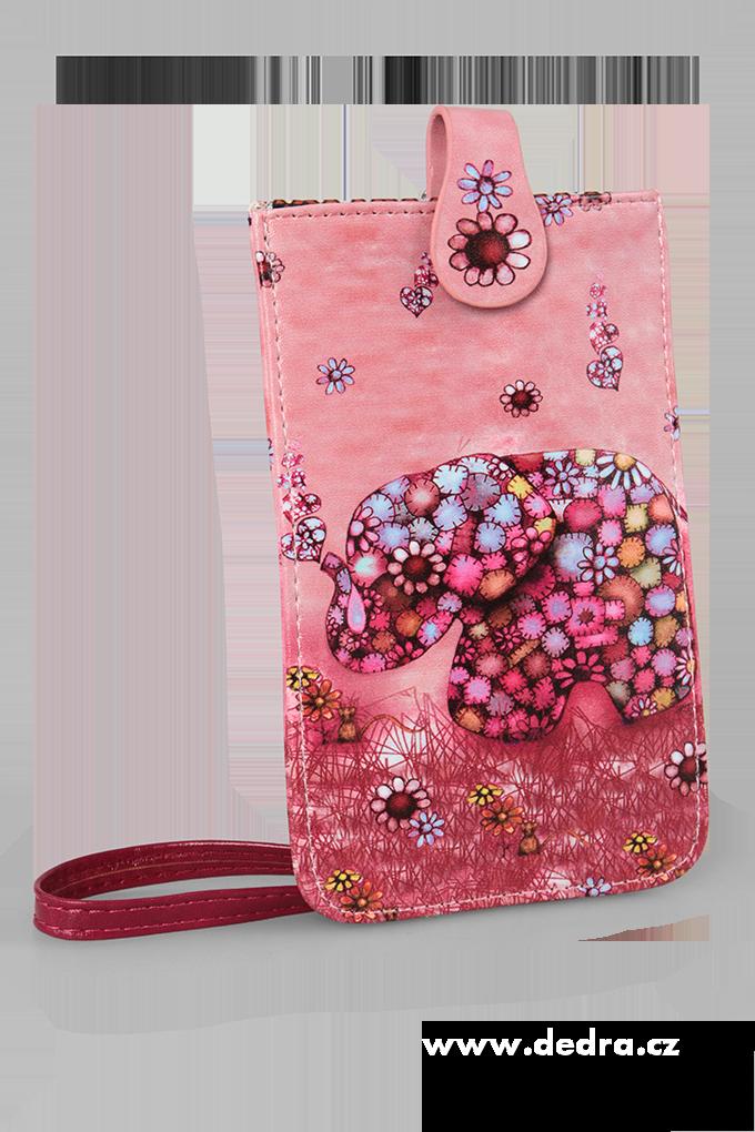 Univerzální pouzdro s motivem slona růžové, z ekokůže