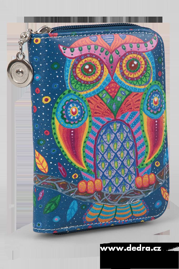 Dámská peněženka s motivem sovy modrá, z ekokůže