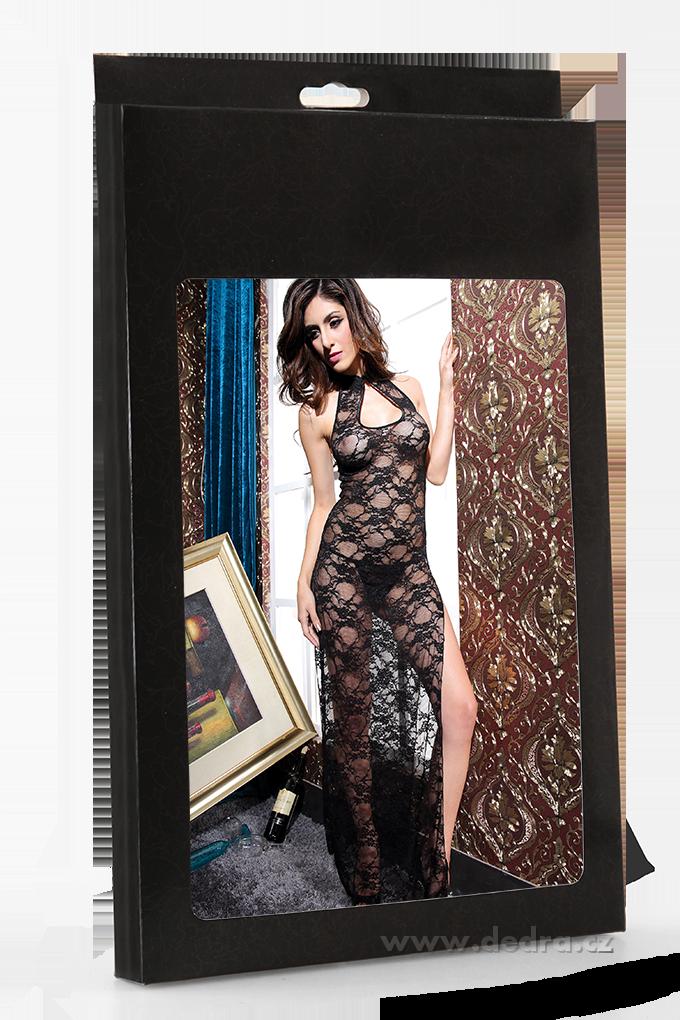 MELONIE černá, krajkové dlouhé šaty