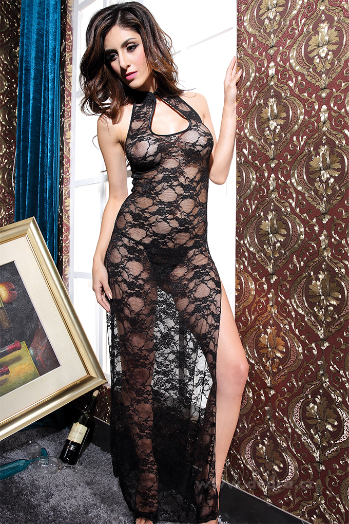 MELONIE černá krajkové dlouhé šaty