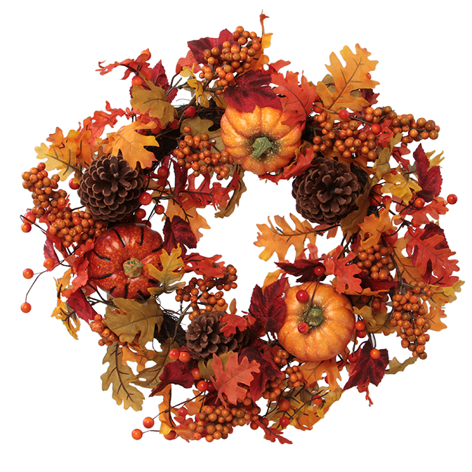 50 cm velký věnec v hřejivých podzimních barvách