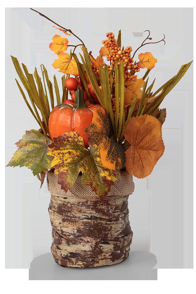 Ozdobná dekorace v podzimních barvách květináč s přízdobou