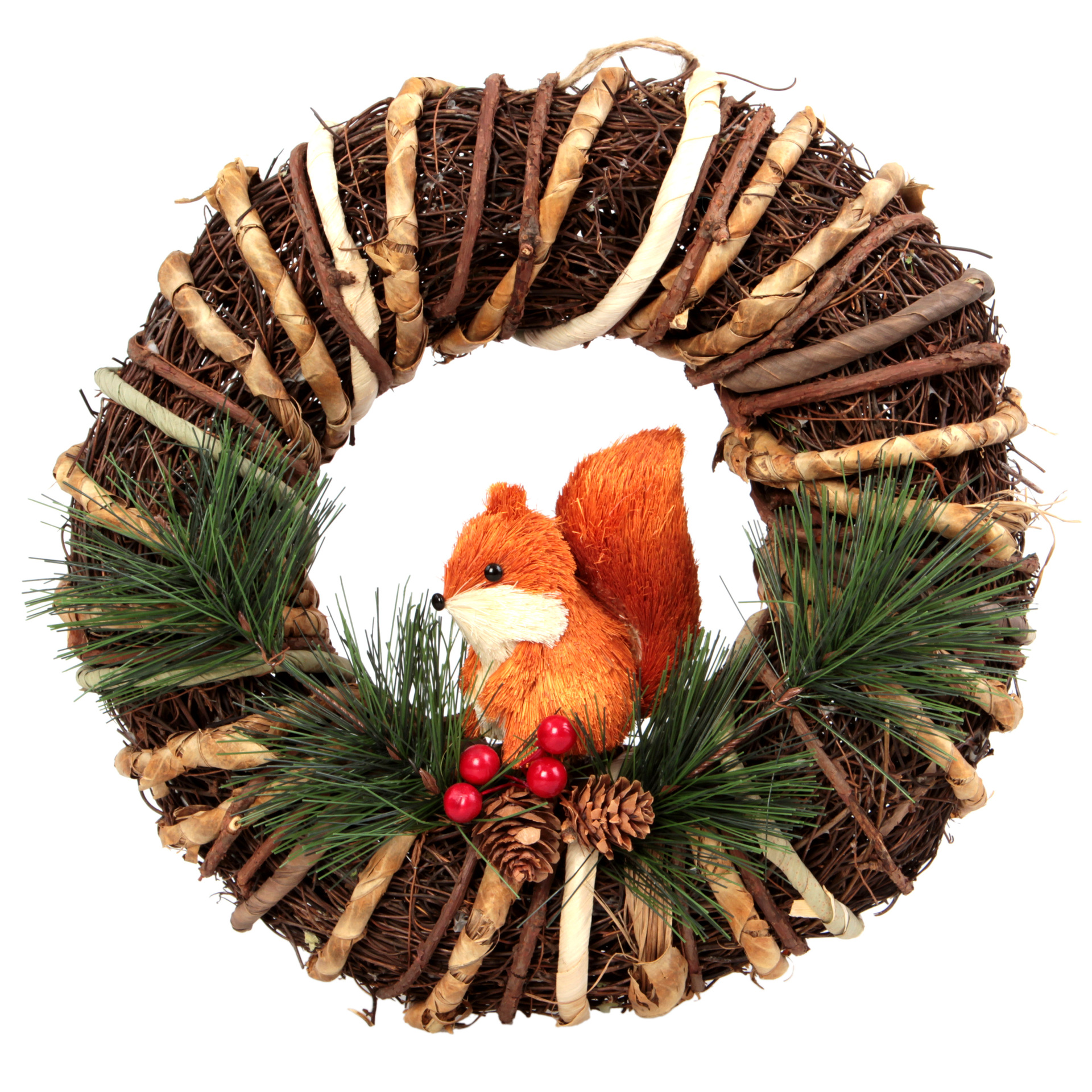 30 cm dekorativní věnec, proutěný s veverkou