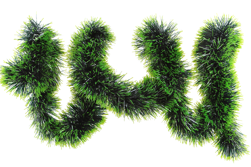 Široký zelený řetěz na vánoční dekorace 200 cm