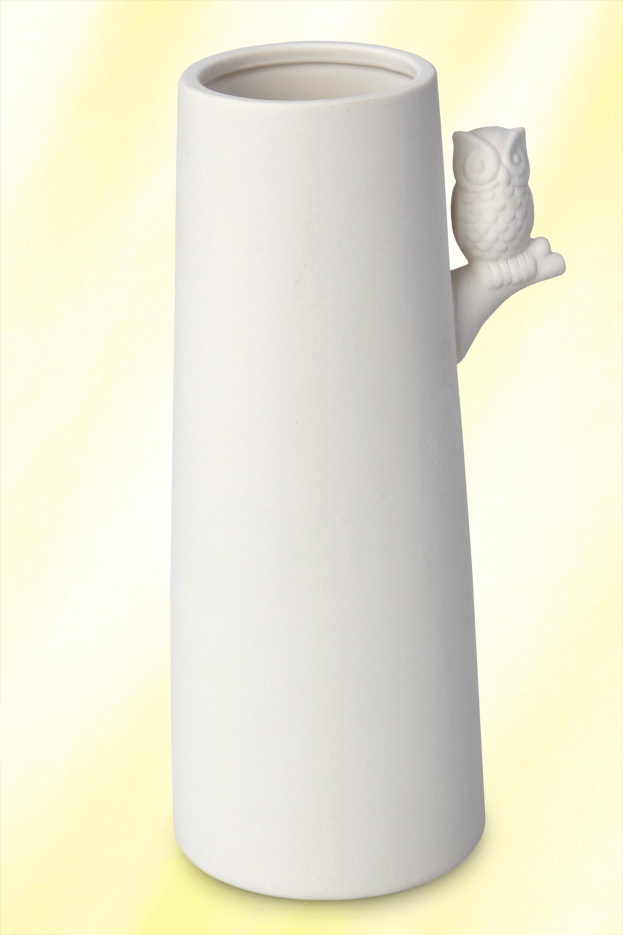 Vysová váza 25 cm z porcelánu, s aplikací sovy