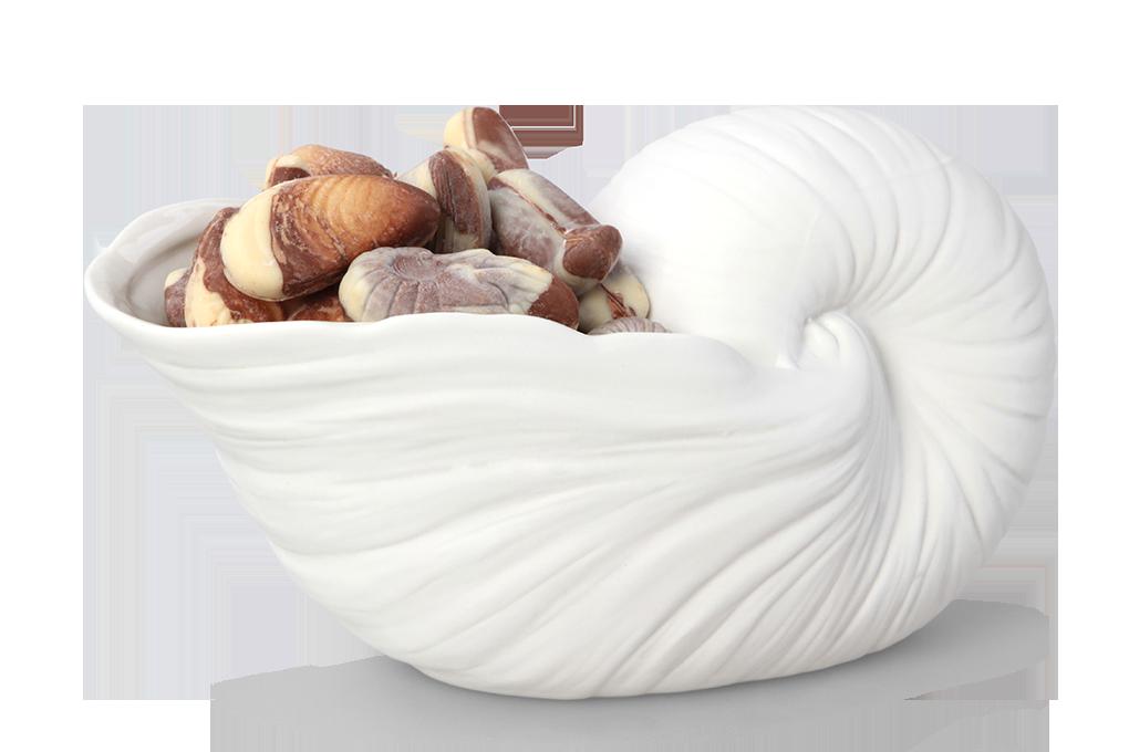 Svícen velká ulita, bílý keramický